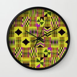 Kente Cloth // Fuego  & Violet-Red Wall Clock