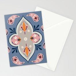 Paisley Pattern Grey Pink Stationery Cards