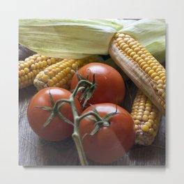 Tomato and Corn Still-Life Metal Print