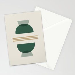 Emerald Abstract Half Moon 2 - Green Stationery Cards