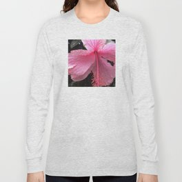 Dewdrops on Tropical Pink Flower Long Sleeve T-shirt
