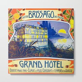 1905 Grand Hotel Isole di Brissago Ticino, Switzerland Advertisement Poster Metal Print