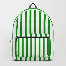 Green & White Vertical Stripes Backpack