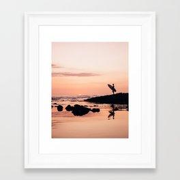 Sunset Surf Reflection Framed Art Print