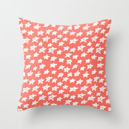 Stars Living Coral Throw Pillow