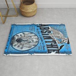 Vintage 1871 Absinthe Blue Liquor Skeleton Elixir Aperitif Cocktail Alcohol Advertisement Poster Rug