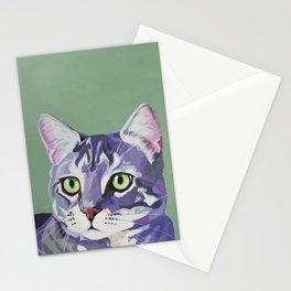 Purple & Gray Cat Stationery Cards