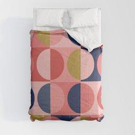 Pink & blue mid century modern design Comforters