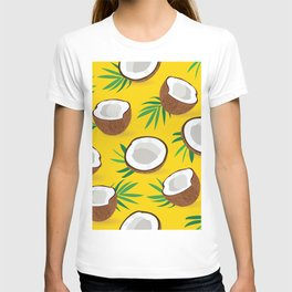 Coconut Pattern on Yellow Background T-shirt