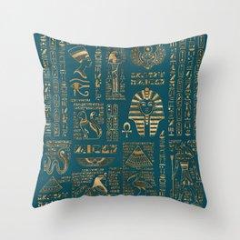Egyptian hieroglyphs and deities - Gold on teal Throw Pillow