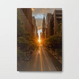 ManhattanHenge - sun setting along 42nd Street Metal Print