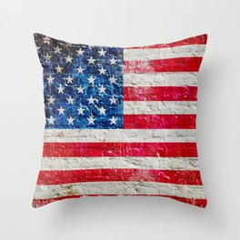 Distressed American Flag On Old Brick Wall - Horizontal Throw Pillow