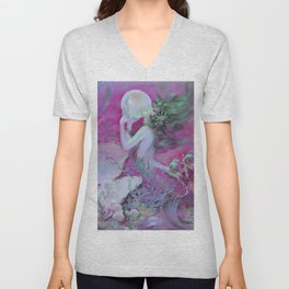 Mermaid With Pearl : Henry Clive Fuchsia Pink Seafoam Unisex V-Neck