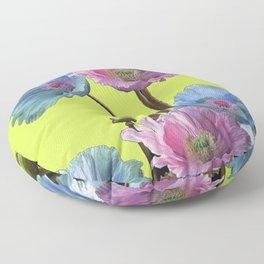 AWESOME PINK & BLUE POPPY GREEN  GARDEN FLOWERS Floor Pillow