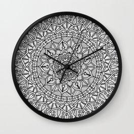 Circle of Life Mandala Black and White Wall Clock