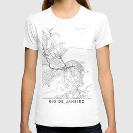 Rio De Janeiro White Map T-shirt