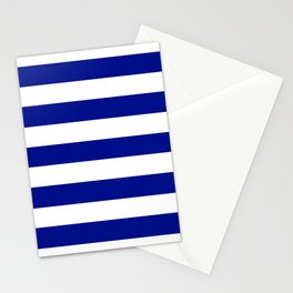 Phthalo blue - solid color - white stripes pattern Stationery Cards