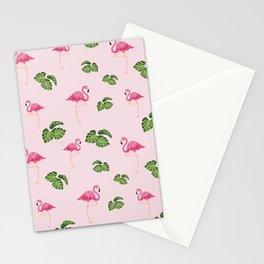 Tropical flamingo design pink background  Stationery Cards