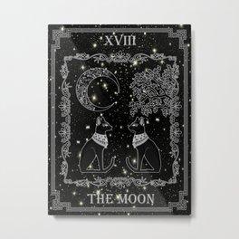 "Tarot ""The Moon"" - silver- cat version Metal Print"
