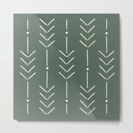 Arrow Lines Pattern in Forest Sage Green 2 Metal Print