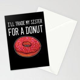 Trade My Sister For Donut Foodlover Baker Hipster Stationery Cards