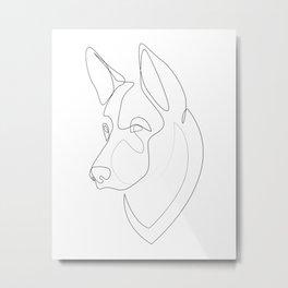 German Shepherd - one line drawing Metal Print