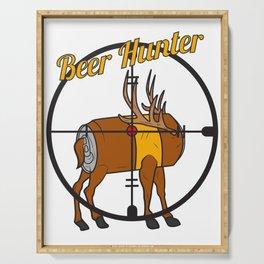 Beer hunter deer antler crosshair funny party gift idea Serving Tray