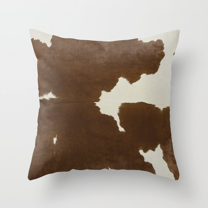 Dark Brown & White Cow Hide Throw Pillow by theghosttown | Society6