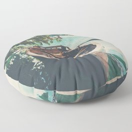 A row boat on Lake Bled, Slovenia Floor Pillow