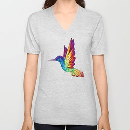Rainbow Hummingbird Unisex V-Neck