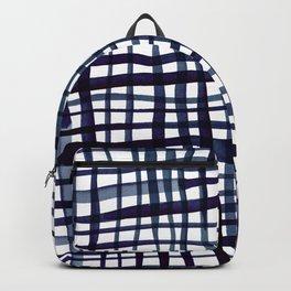 Watercolor doodle gingham - indigo Backpack
