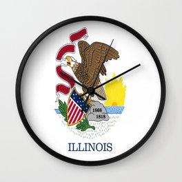 flag illinois,america,usa,midwest,Land of Lincoln,Prairie State,Illinoisan,Chicago,Aurora,Rockford Wall Clock