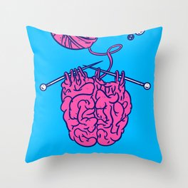 Knitting a brain Throw Pillow