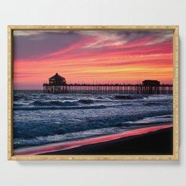 Surf City Sunsets   8/30/15   Huntington Beach California Serving Tray