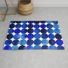 Blue Circles in Watercolor Rug