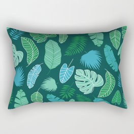 Tropical Green Palm Leaves Pritn Pattern Monochromatic  Rectangular Pillow