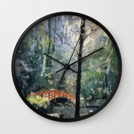 Watercolor batik on rice paper of bridge at Sarah P. Duke Gardens- Durham, NC Wall Clock