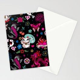 Lucky Cat Maneki Neko , Dragons and Koi fish Stationery Cards