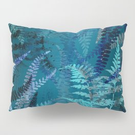 Night Forest Blue Fern Leaves Botanical Abstract Pillow Sham