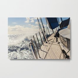 Onboard during sailing across the Atlantic- sailing photography- nautical photograph  Metal Print