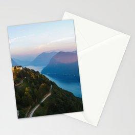 Mount Bre, Lugano, Switzerland Alpine Mountaintop lakeside photograph Stationery Cards