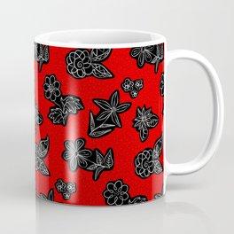 Flowers Sketch (Black & White on Warm Red) Coffee Mug