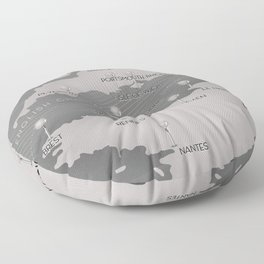 English Channel map (mono) Floor Pillow