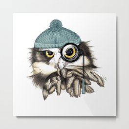 Owl eyeglass and cap Metal Print