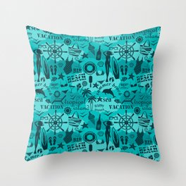 Retro Nautical Ocean Blue Summer Vacation Beach Themed Collage Throw Pillow