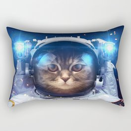 Beautiful cat in outer space Rectangular Pillow