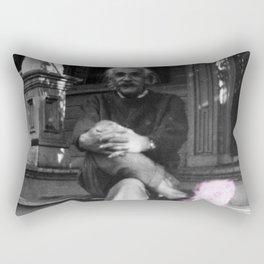 Albert Einstein in Fuzzy Pink Slippers Classic E = mc² Black and White Satirical Photography  Rectangular Pillow