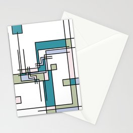 Untitled Line Composition- Mondrian Inspired Digital Illustration Art Print Stationery Cards