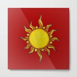 Sun Watercolor Painting on Red Background Design Metal Print