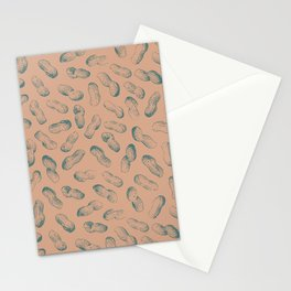 Peanut butter - peanut seamless pattern design light terracotta and charcoal Stationery Cards